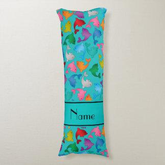 Personalized name turquoise rainbow dolphins body cushion