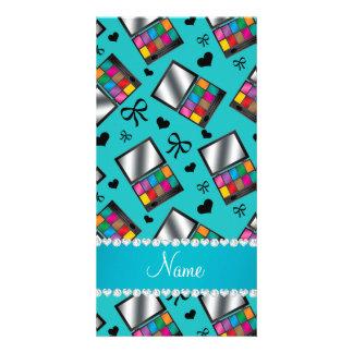 Personalized name turquoise rainbow eyeshadow photo card