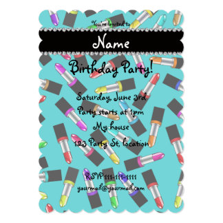 "Personalized name turquoise rainbow lipstick 5"" x 7"" invitation card"