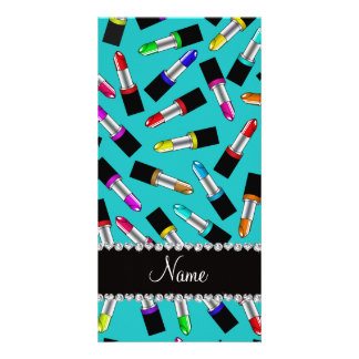 Personalized name turquoise rainbow lipstick customised photo card