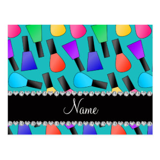 Personalized name turquoise rainbow nail polish postcard
