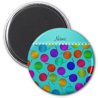 Personalized name turquoise rainbow yarn balls 6 cm round magnet
