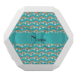 Personalized name turquoise rainbows pattern white boombot rex bluetooth speaker