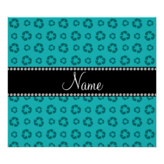 Personalized name turquoise recycling pattern print