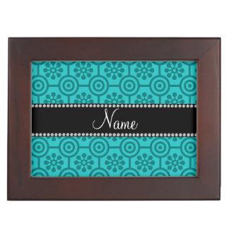 Personalized name turquoise retro flowers keepsake box