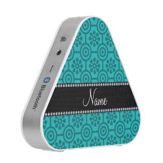 Personalized name turquoise retro flowers bluetooth speaker