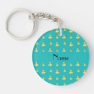 Personalized name turquoise rubber duck pattern key ring