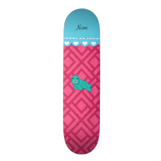 Personalized name turquoise seal pink triangles skateboards