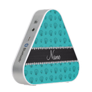 Personalized name turquoise shells bluetooth speaker