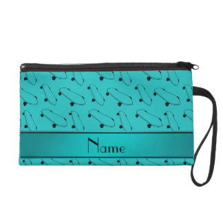 Personalized name turquoise skateboard pattern wristlet purses