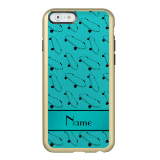 Personalized name turquoise skateboard pattern incipio feather® shine iPhone 6 case