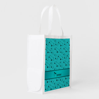 Personalized name turquoise skateboard pattern market totes