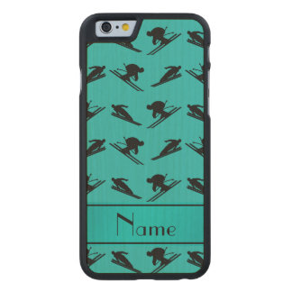 Personalized name turquoise ski pattern carved® maple iPhone 6 case