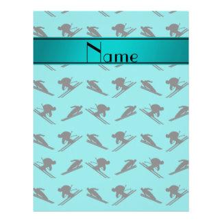 Personalized name turquoise ski pattern custom flyer