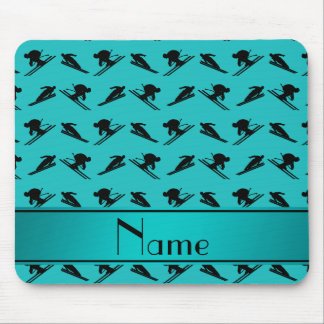 Personalized name turquoise ski pattern mousepad