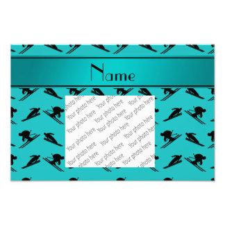 Personalized name turquoise ski pattern photographic print