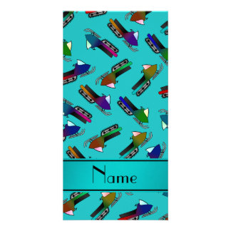 Personalized name turquoise snowmobiles personalized photo card