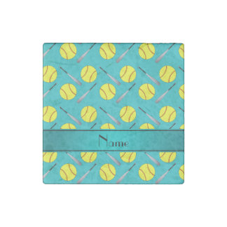Personalized name turquoise softball pattern stone magnet