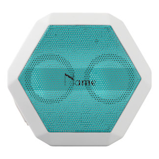 Personalized name turquoise squares circles white boombot rex bluetooth speaker