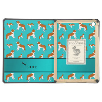 Personalized name turquoise St Bernard dogs Case For iPad Air