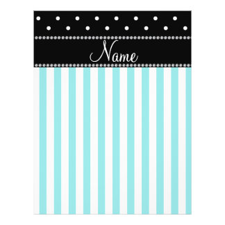 Personalized name turquoise stripes black dots flyers