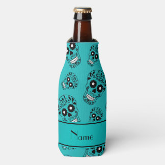 Personalized name turquoise sugar skulls bottle cooler