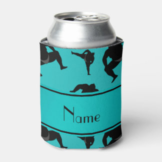 Personalized name turquoise sumo wrestling can cooler