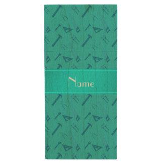 Personalized name turquoise tools pattern wood USB 2.0 flash drive