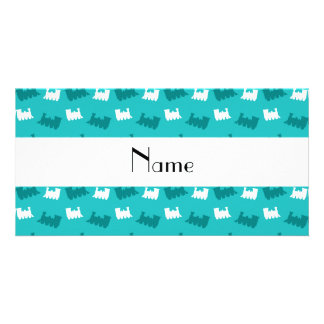 Personalized name turquoise train pattern photo greeting card