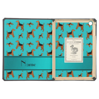 Personalized name turquoise Welsh Terrier dogs iPad Air Cases