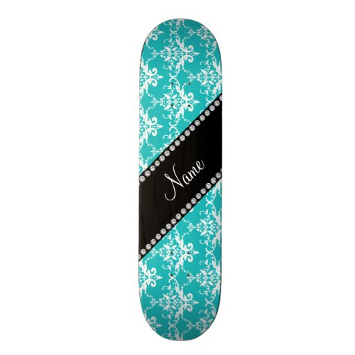 Personalized name turquoise white damask skate deck