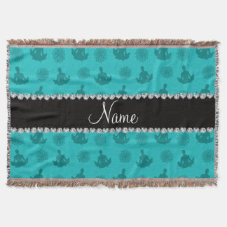 Personalized name turquoise yoga pattern throw blanket