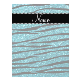 Personalized name turquoise zebra stripes flyers