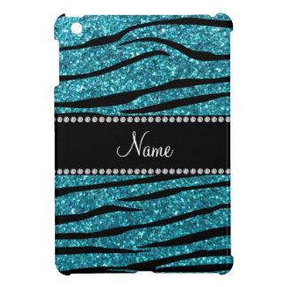 Personalized name turquoise zebra stripes iPad mini covers