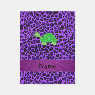 Personalized name turtle purple leopard pattern fleece blanket