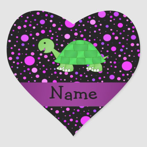 Personalized name turtle purple polka dots heart sticker
