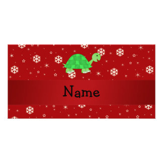 Personalized name turtle red snowflakes personalised photo card