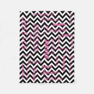 Personalized Name Typography Pink Black Chevrons Fleece Blanket