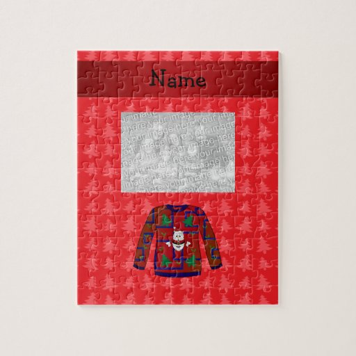 Personalized name ugly christmas sweater puzzles