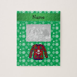 Personalized name ugly christmas sweater snowflake jigsaw puzzles