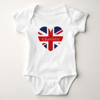 Personalized Name UK Flag Heart Baby Bodysuit