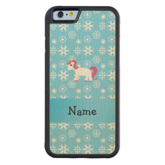 Personalized name unicorn blue snowflakes carved® maple iPhone 6 bumper case