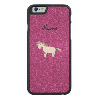 Personalized name unicorn pink glitter carved® maple iPhone 6 slim case