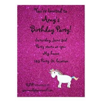 Personalized name unicorn pink glitter 14 cm x 19 cm invitation card