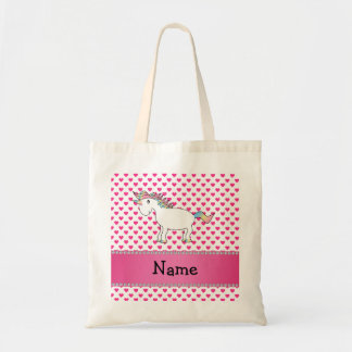 Personalized name unicorn pink hearts budget tote bag