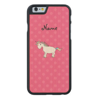 Personalized name unicorn pink polka dots carved® maple iPhone 6 case