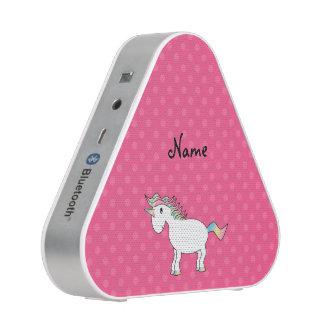 Personalized name unicorn pink polka dots bluetooth speaker