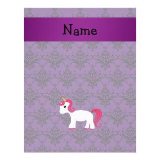 Personalized name unicorn purple damask flyers