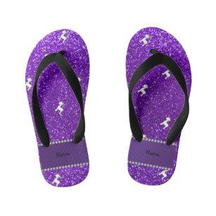 bbdac358c Personalized name unicorn purple glitter kid s thongs