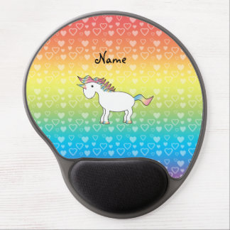 Personalized name unicorn rainbow hearts gel mouse pad